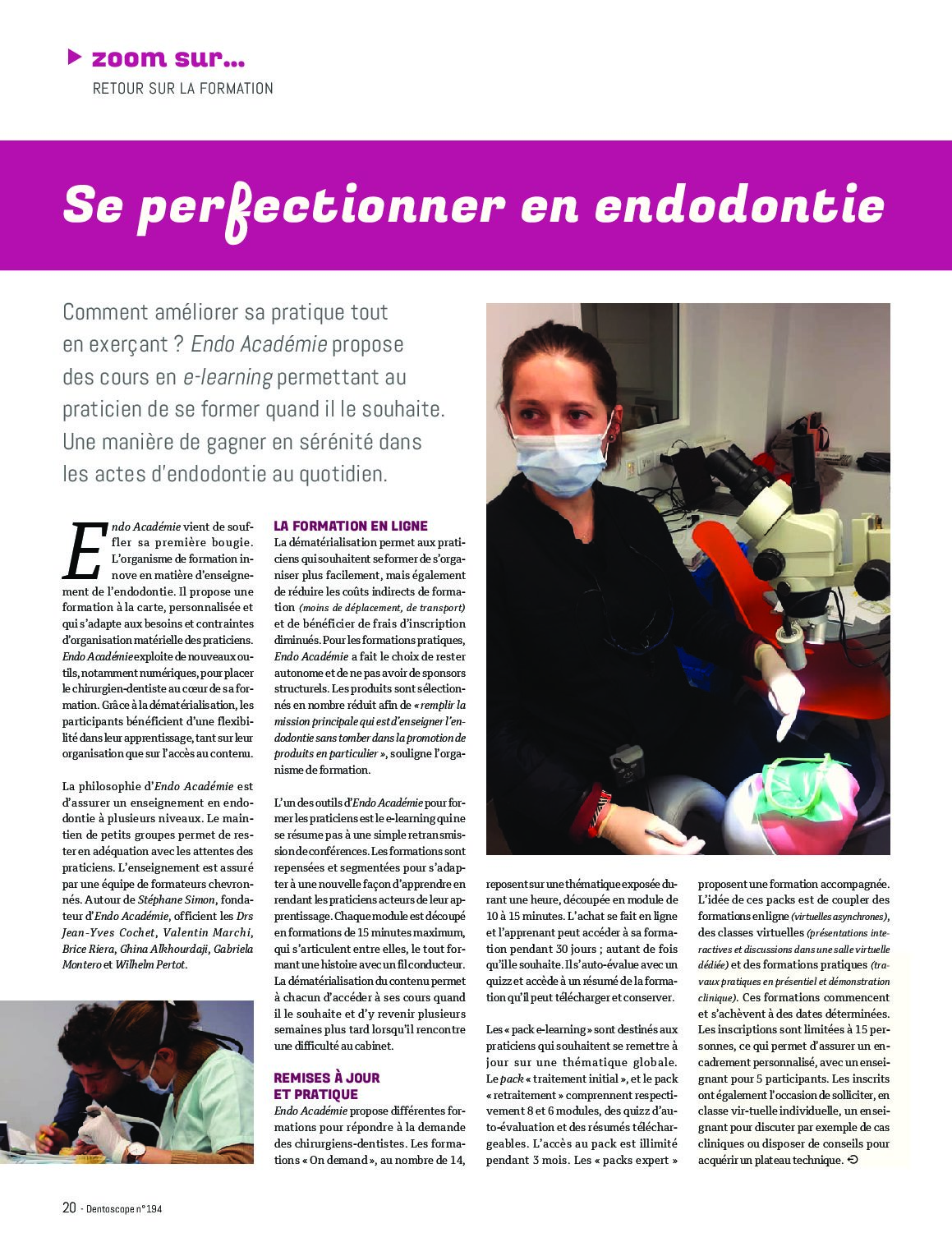 c55eaa93c0 Endo Académie vue par Le Dentoscope - Endo Academie